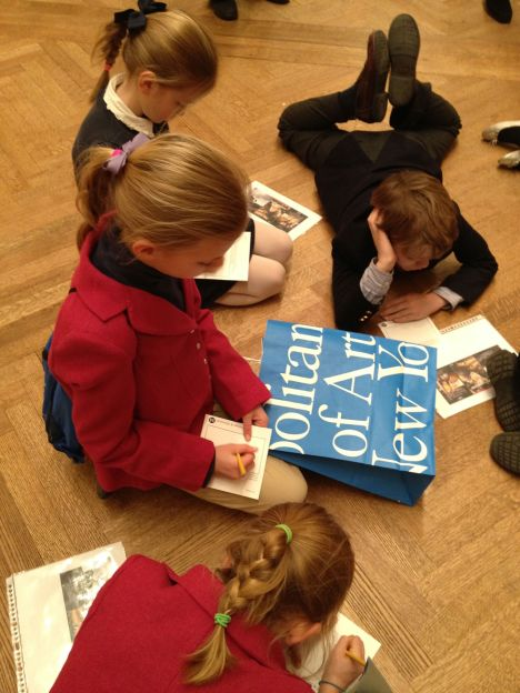 HappyMess kids studying Joan of Arc at MET